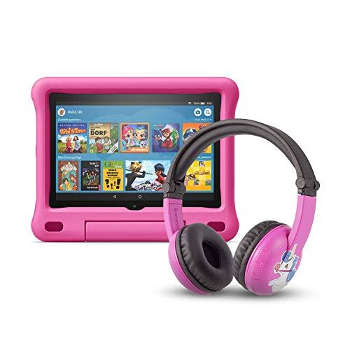Das neue Fire HD 8 Kids Edition-Tablet (32 GB, pinke kindgerechte Hülle) mit PlayTime-Bluetooth-Headset (Altersklasse: 3-7 Jahre)