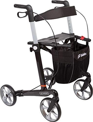 FabaCare Premium XXL Rollator Set Gepard HD 312405, Kohlefaser Carbon, faltbar, mit Vollausstattung, Rückengurt, Tasche, Stockhalter, Sitz, Carbonrollator bis 200 kg, Sitzbreite 54 cm