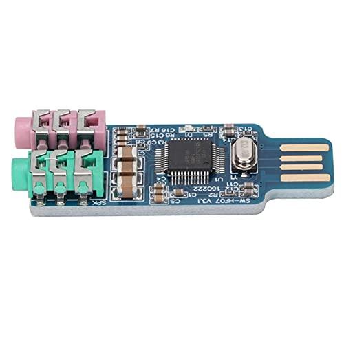 Mutuer Tarjeta de Sonido, Tarjeta de Sonido USB sin Controlador Adaptador de Audio Externo para computadora portátil (Chip: CM108)