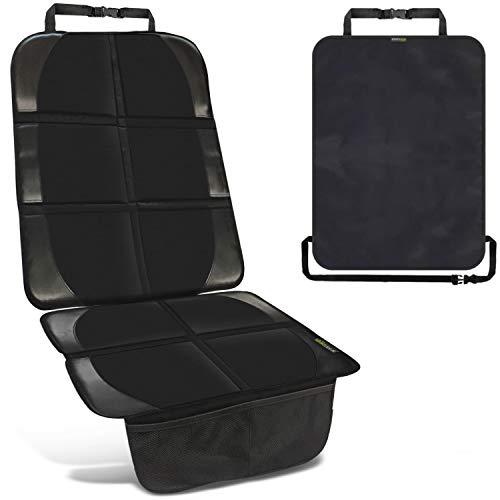 Kindersitzunterlage in Schwarz inkl. 1 Trittschutz – hochwertiger Autositzschoner in universeller Passform – geeignet für Isofix – rutschfest, pflegeleicht und sicher – von SMARTPEAS®