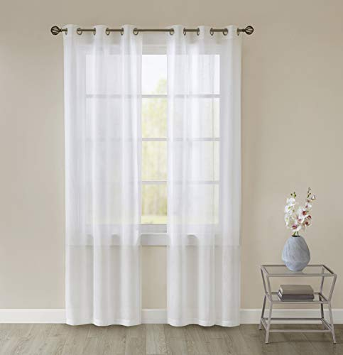 Lora White Voile Curtains - Transparent Window Sheer Curtain Drapes - 2 Panels Classical Ultra Sheer Curtains with Grommet Top (56' Wide x 69' Drop)