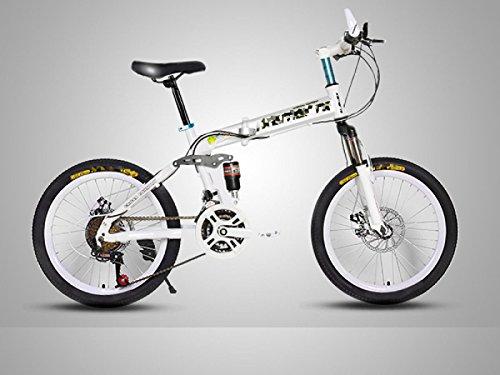 POKWAI Bike Mountain Bike Pieghevole 21 Speed 20Inch / Freni Anteriori E Posteriori Disco Forcella Sospensione Sospensione Posteriore Acciaio Ordinario/Alta Carbonio