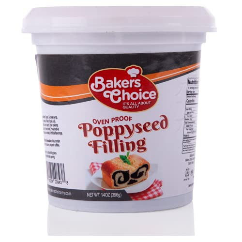 Poppy Seed Filling Pastry Filling, 14 oz. - Creamy Spread and Topping for Cakes and Desserts - Baking and Cooking Ingredient - Kosher, Dairy Free & Vegan - By Baker's Choice