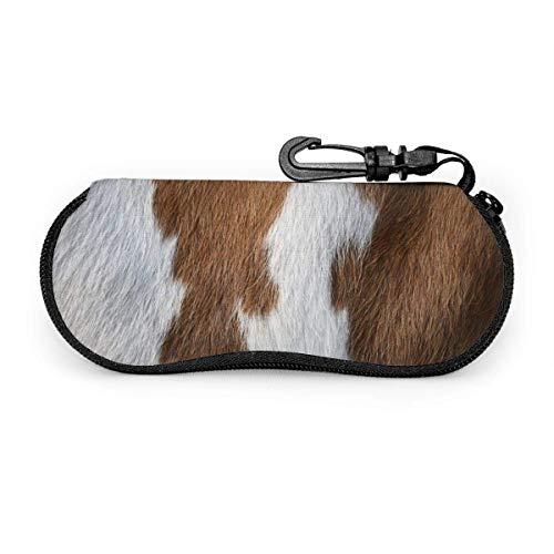 SDFGJ Estuche para gafas con mosquetón Puntas de alfombra de piel de vaca Ligero portátil Neopreno con cremallera Bolsa para anteojos Estuche suave para gafas de sol
