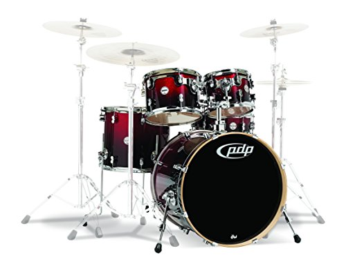 PDP By DW 5-Piece Concept Maple Shell Pack with Chrome Hardware Red to Black Fade