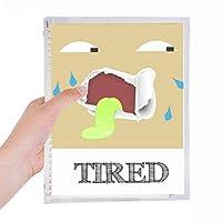 疲れた茶色の感情発汗 硬質プラスチックルーズリーフノートノート