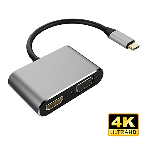 ETbotu Geschenken voor mannen vrouwen - USB 3.1 Type-C naar HDMI VGA Adapter 2 in 1 VGA HDMI 4K UHD Dual Screen Display Adapter