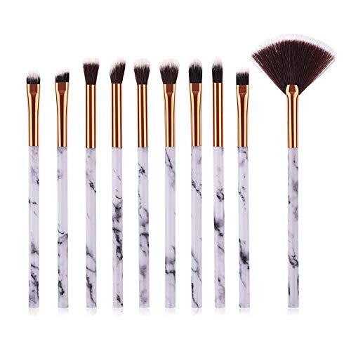 MEIMEIDA Marble Texture Makeup Brushes Set Powder Eye Shadow Contour Blush Blending Flawless Cosmetic Brush Kits, 10 Pcs Marble Brush