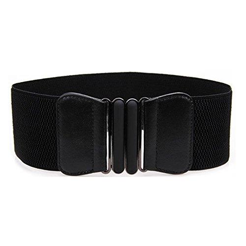 HuntGold 1 ceinture élastique en cuir avec boucle en métal pour femme Noir