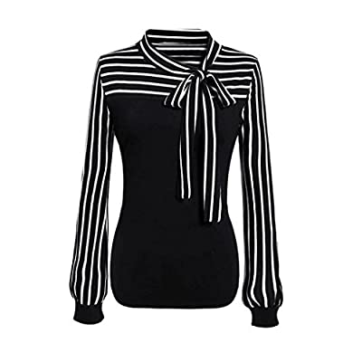 ManxiVoo Women OL Chiffon Shirt Blouse Ladies Self Bowknot Neck Striped Long Sleeve Splicing Blouse