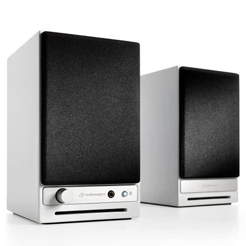 Audioengine HD3 Wireless Speaker | Desktop Monitor Speakers | Home Music System aptX HD Bluetooth, 60W Powered Bookshelf Stereo Speakers, AUX Audio, USB, RCA Inputs Outputs, 24-bit DAC (White)