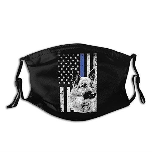 K-9 Dog Police Officer American Flag Apparel Usa Thin Blue Line Gift Face Mask Reusable Scarf Black Windproof Balaclava For Men Women & Adults