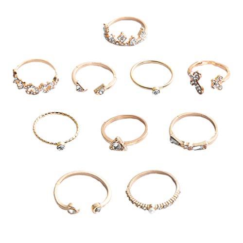 Holibanna 10 Unids Boho Anillo de Dedo Conjunto de Cristal de Oro Anillos de Nudillos de Diamantes de Imitación Anillo Apilable Joyería de Mano para Mujeres Y Niñas