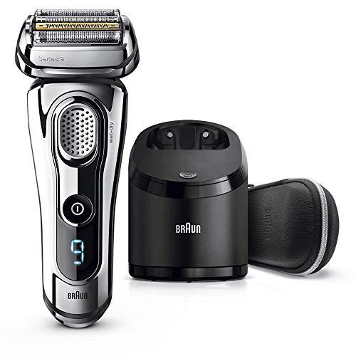 Braun Series 9 9297 - Afeitadora Eléctrica Hombre para la Barba, en Seco y Mojado, con Recortadora de Precisión Integrada, Recargable, de Color Cromo