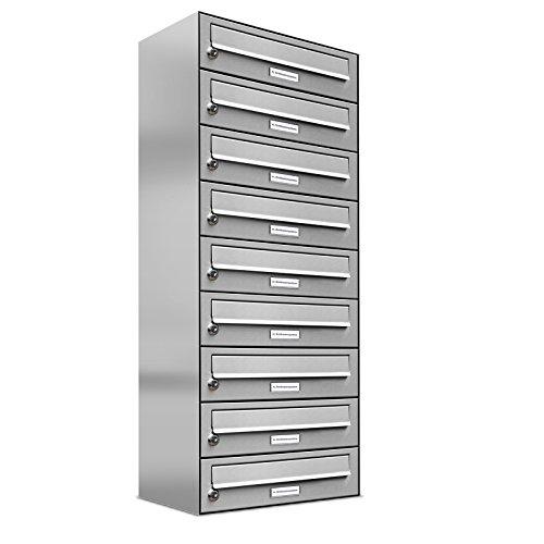 AL Briefkastensysteme 9er Briefkastenanlage Edelstahl, Premium Briefkasten DIN A4, 9 Fach Postkasten modern Aufputz