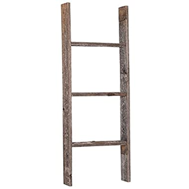 BarnwoodUSA Rustic 3 Foot Old Wooden Bookcase Ladder - 100% Reclaimed Wood, Weathered Gray