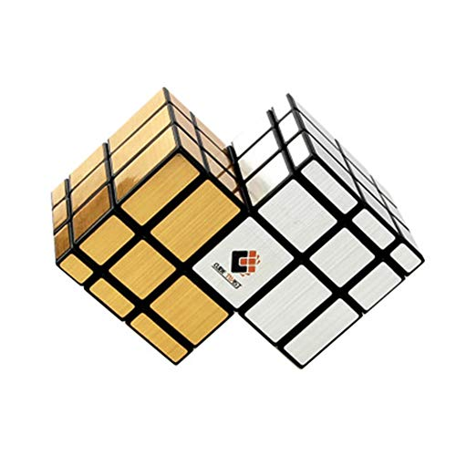 RUIGIN Speed Cube Mirror 3-Order 2 en 1 Magic Cube 3X3x3 Black Fluorescent Gold & Silver Sticker 3D Alien Speed Twist Toy Puzzle Juguetes