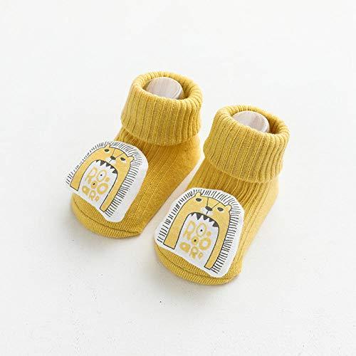 ROUNDER 3 Pares de Calcetines de bebé para otoño/Invierno nuevos Calcetines de Tubo de bebé dispensadores Antideslizantes Calcetines de Piso de muñeca de Dibujos Animados 6-12 Meses-León Amarillo