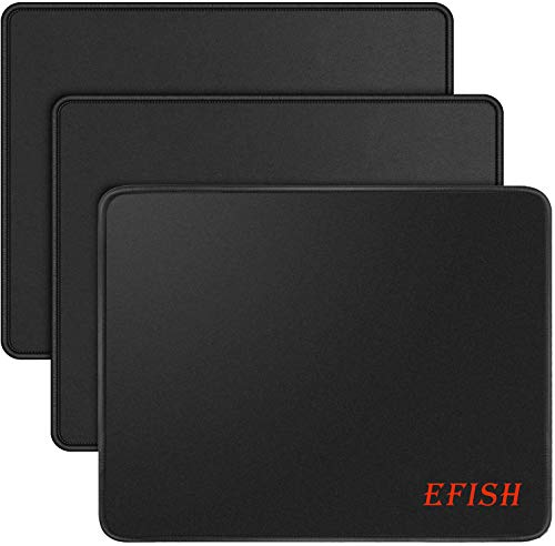 EFISH 3PCS 10.2×8.3×0.08 inches Computer Mouse Pad with Non-Slip Rubber Base,Premium-Textured with Stitched Edges,Mouse Pads for Computers,Laptop,Office &Home,Black