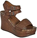 Pierre Dumas Hester-12 Womens Vegan Leather Double-Buckle Rounded-Toe Wedge Sandals (Whiskey, 8.5)