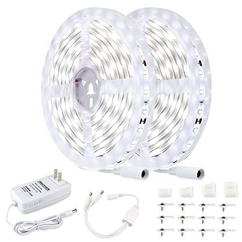 JESLED 32.8ft/10M LED Strip Lights ,6500K Super Bright White,Dimmable,24V DC LED Tape Lights for Bedroom, Kitchen, Under Cabinet, Living Room, Stair Decoration