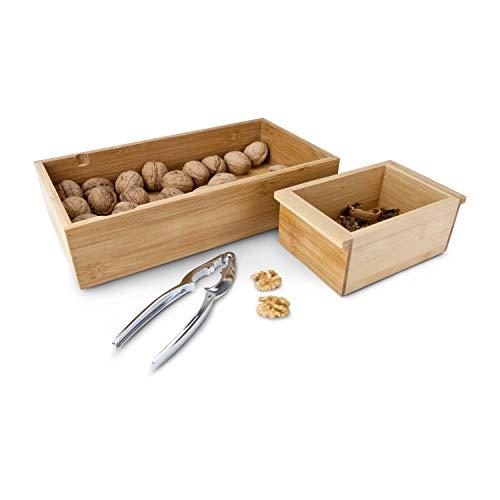 ROMINOX Geschenkartikel Nussknacker-Set // Nux – Edelstahl Nussknacker mit 2 Holzschalen, integrierte Auflagefläche, Nuss Reservoir & separater Behälter für die Schalen; Maße: ca. 30 x 16.3 x 7.5 cm