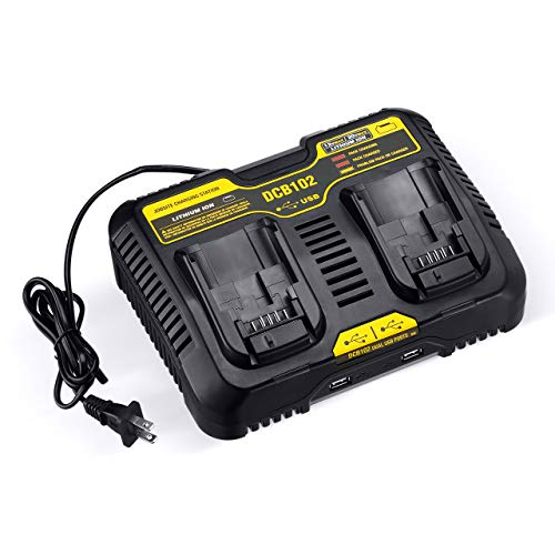 2-Port 20V DCB102BP Charger Compatible with Dewalt 12V - 20V MAX Jobsite Charging Station DCB102 DCB102BP Lithium Battery DCB205-2 DCB204-2