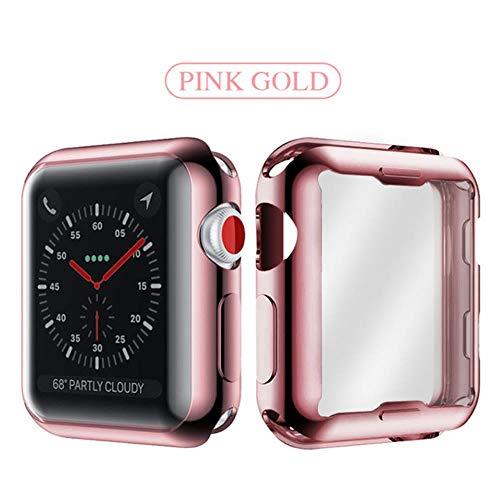 Miwaimao landia Slim Watch 360 Cover per Apple Watch Caso 5 4 3 2 1 42mm 38mm Soft Clear TPU Screen Protector per iWatch 5 44mm 40mm accessori, oro rosa, 44mm per 4 5