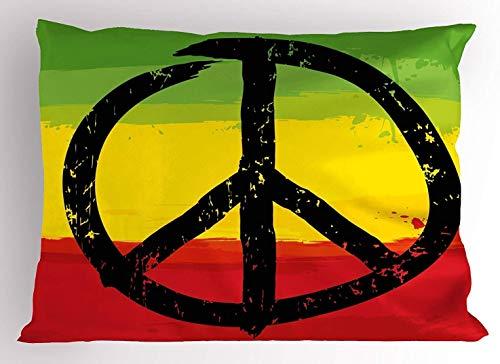 Maymer Rasta Grunge estilo acuarela diseño bandera africana colores hippie paz signo rectangular decorativo decoración para el hogar cuadrado funda de almohada sólo uno 50 x 30 pulgadas