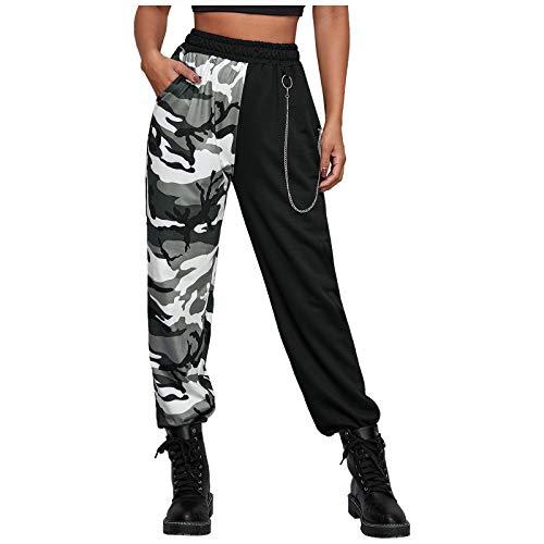 LEEDY, pantaloni da donna con tasche a vita alta, casual, casual, con coulisse, cargo, vita alta, casual grigio. S