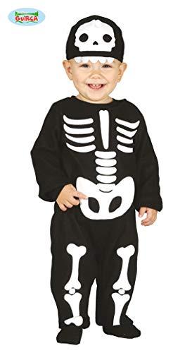 Guirca - Disfraz de esqueleto para niño de 12/24 meses, color negro y blanco, 2 años, 87011