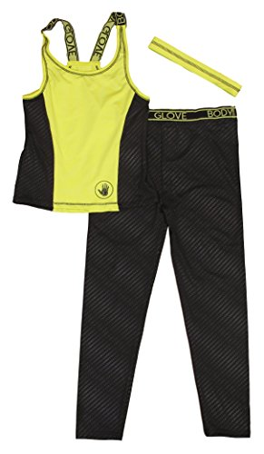 Body Glove Girls 3-Piece Athletic Set Long Pants and Racer Back Tank Top with Headband, Size 6x, Lime