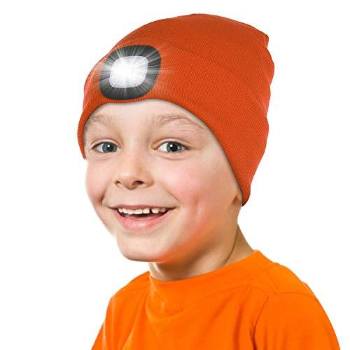 Tutuko LED Beanie Cap for Kids, Winter Knitted Hat for Boys Girls Orange