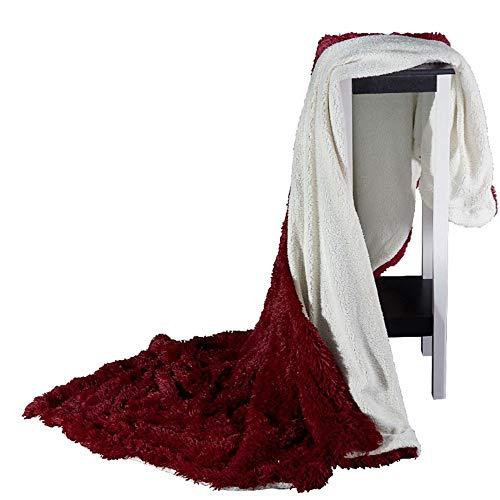 SIKESONG Long Super Doux Fluffy des Pierres Élégant Canapé Lit Couverture Couverture Rouge 220×240Cm