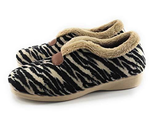 aAlcalde 3040 - Zapatilla Casa Mujer Cerrada Estampada Leopardo Cebra | Mocasín...