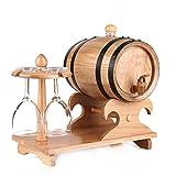 Fût de Chêne 5L, Distributeur de Fût de Whisky en Bois Avec Porte-gobelets Tonneau 100% Bois pour La Conservation Du Vin, Du Whisky et de La Bière (Color : Natural, Size : 5L)