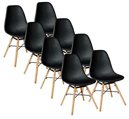 Kingpower 2/4 / 6/8 Set Sillas Comedor Asiento Brazo Sillón 4 Colores Diferentes, Selección:8 sillas - Negro