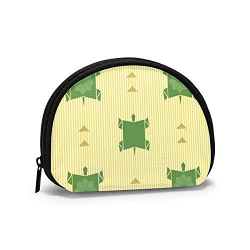 Tortuga de Origami Verde sin Costuras con patrón de Brillo Dorado en...