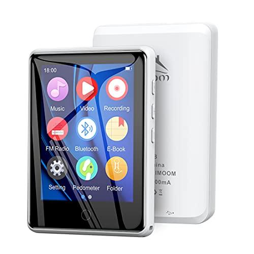 Timoom M6 Lettore MP3 32GB Bluetooth 5.0 Full Touch 2.8  Screen MP4 player per Sport Lossless HiFi Musicale Con Radio FM Contapassi Altoparlante Registrazion Supporto Fino a 128GB-Bianco
