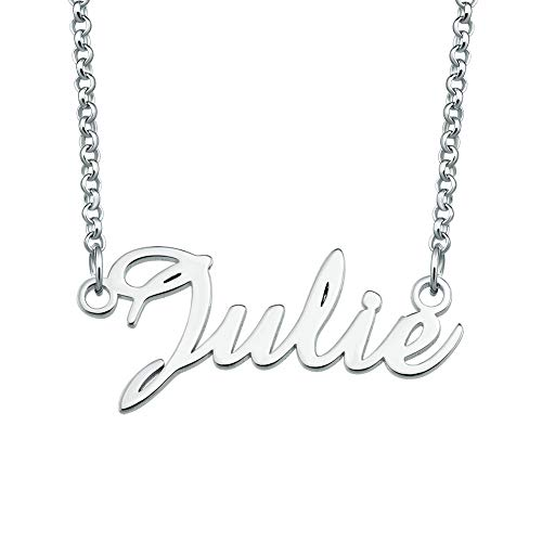 SexyMandala 925 Sterling Silver Personalized Name Necklace Semi-Customized Pendant Jewelry for Julie