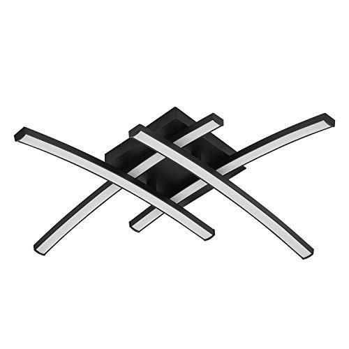 INSPIRE - Lámpara de techo con ledes integrados fijos, 45 x 45 cm, 3200 lúmenes, 4000 K, aluminio negro