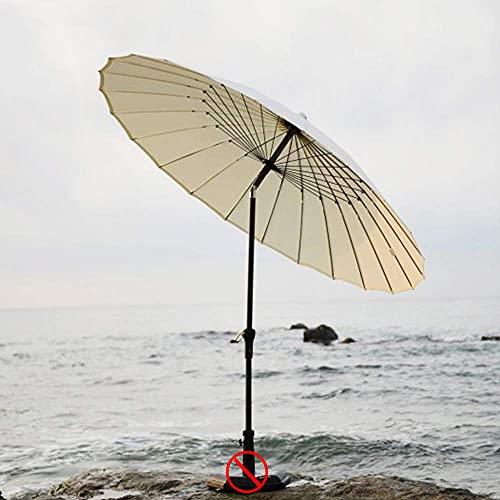 WGFGXQ Sombrilla para Exterior 270 cm Shanghai sombrilla Patio balcón Exterior Playa Camping Plegable sin Base, Beige