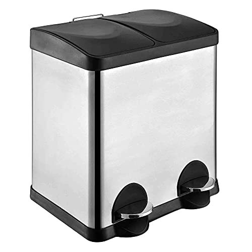 Amig - Cubo de Basura Doble para Reciclaje Plateado de Acero Inoxidable con Pedales y Acabado Satinado Antihuellas - 43 x 40 x 54 cm · 2 Contenedores * 15 litros