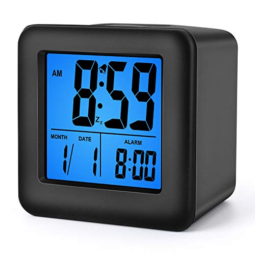 Plumeet Digital Alarm Clocks Travel Clock with Snooze and Blue Nightlight - Easy Setting Clock Display Time, Date, Alarm - Ascending Sound - Battery Powered (Black)