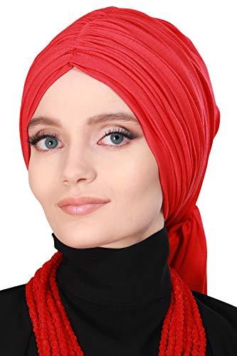 Instant Turban for Women Cotton Head Wrap Lightweight Head Scarf Modest Headwear Red