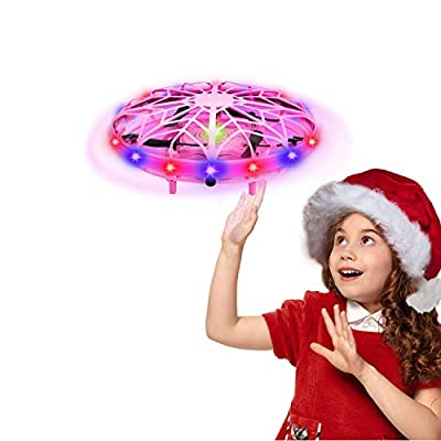 UTTORA UFO Mini Drone for Kids UFO Drone Toys Hand Controlled Induction Levitation Rechargeable Flying Toy with LED Indicator Kids Flying Ball Drone Toy for Girls Boys from Uttora