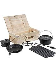 BBQ-Toro Dutch Oven 7-delige set in houten kist, gietijzer, reeds ingebrand, met kookpan, steelpan, grillplaat, pan, deksellichter en onderzetters