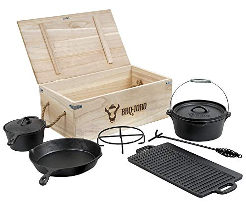 BBQ-Toro 7-teiliges Dutch Oven Set in Holzkiste
