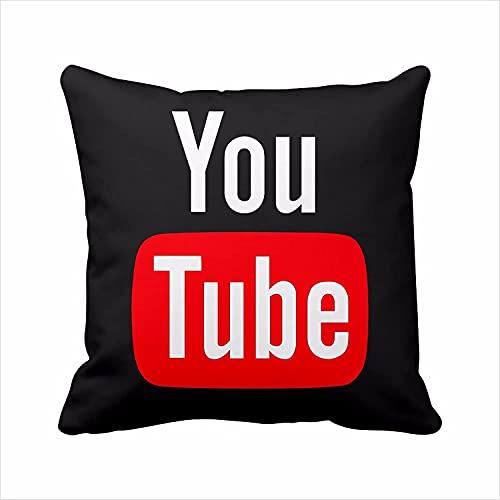 Funda de almohada de YouTube de 2 lados, funda de almohada de YouTube, logo de redes sociales, funda de almohada cuadrada con cremallera (40,6 x 40,6 cm), color negro
