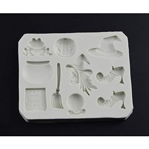 DJSK Halloween Besen Kürbis Frosch Hexe Silikon Fondant Seife 3D Kuchenform Cupcake Süßigkeiten Schokolade Dekoration Backwerkzeug Gelee Formen 8,4 * 6,7 * 0,9 cm
